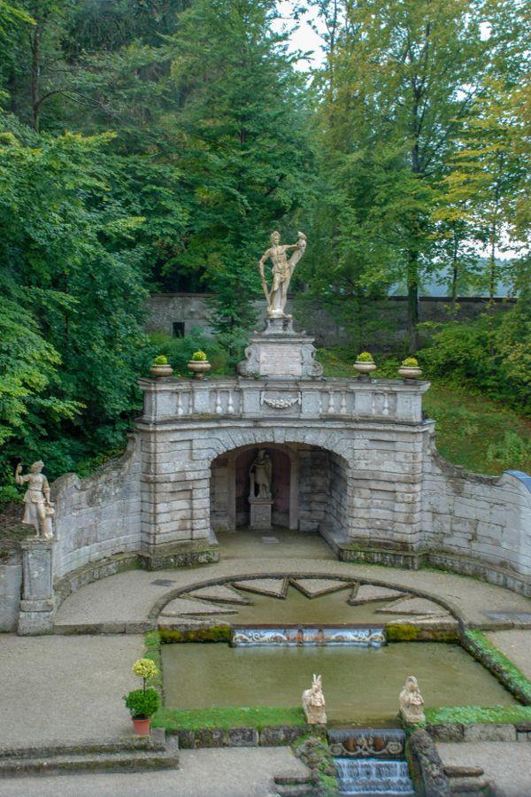 View over the fountains at Schloss Hellbrunn in Salzburg, Austria.