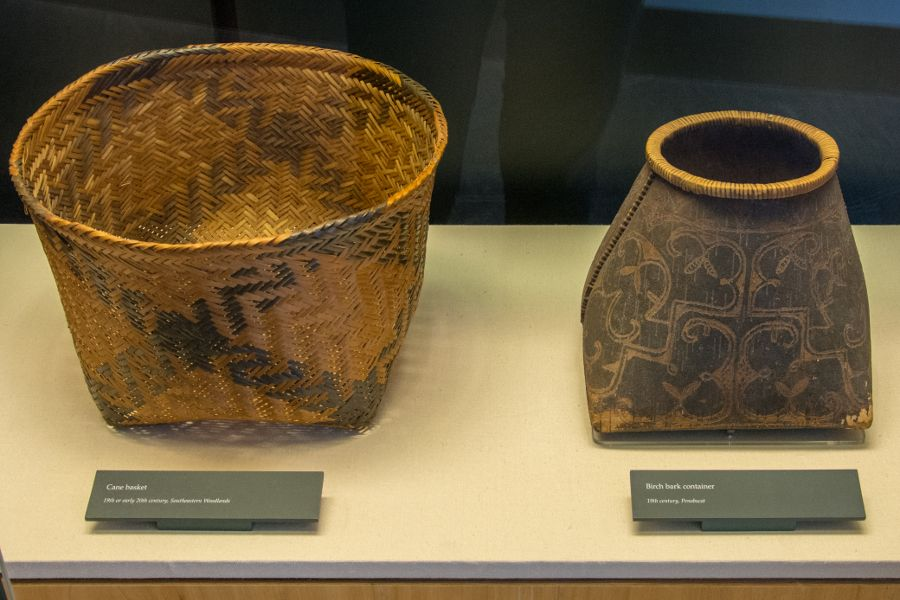 Baskets on exhibit at the Mashantucket Pequot Museum in Connecticut.