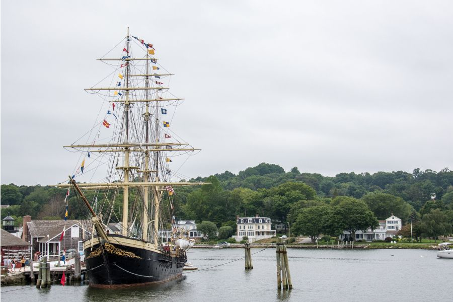 The Joseph Conrad tall ship docked at Mystic Seaport in Connecticut.