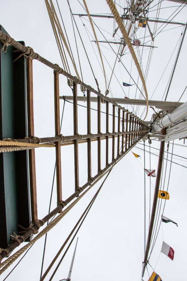 Rigging of a tall ship at Mystic Seaport in Connecticut.
