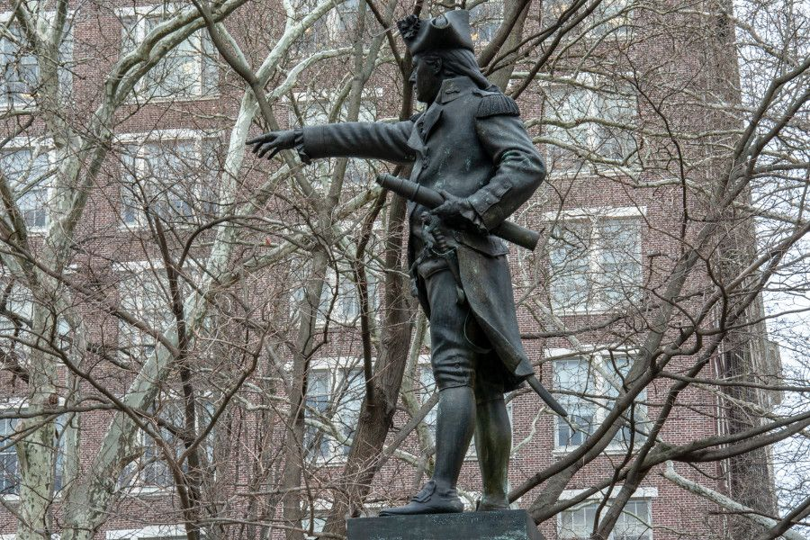A statue of Commodore Barry in Old City Philadelphia.