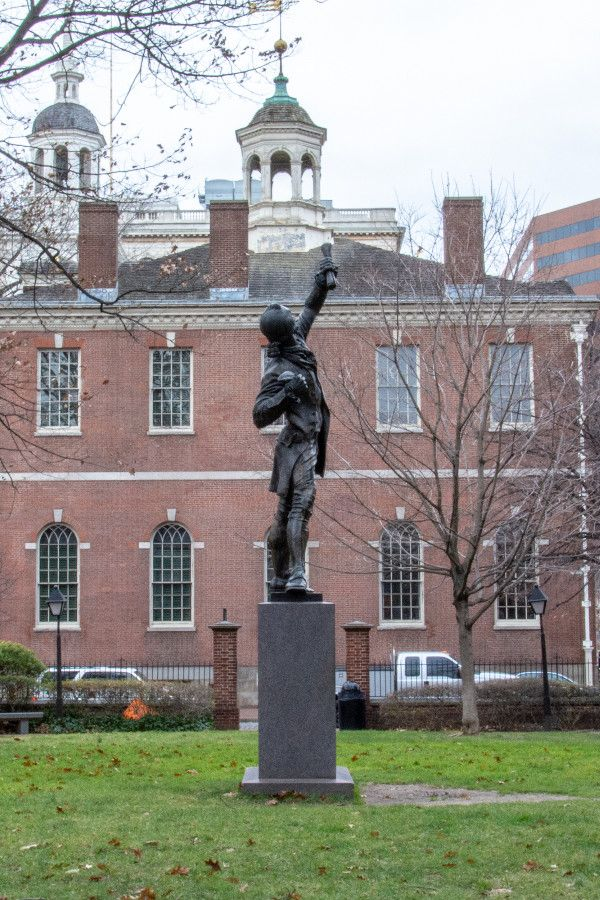 The Signer statue in historic Old City Philadelphia.