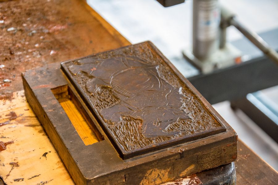 A rhinoceros woodblock for printing inside the Albrecht Dürer House in Nuremberg, Germany.