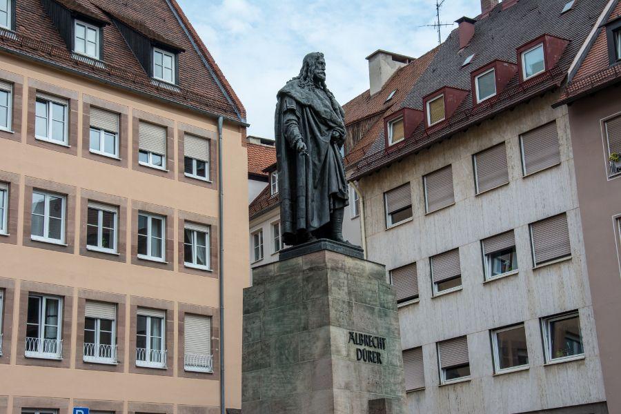 A statue to Albrecht Dürer, near his house, in Nuremberg, Germany.