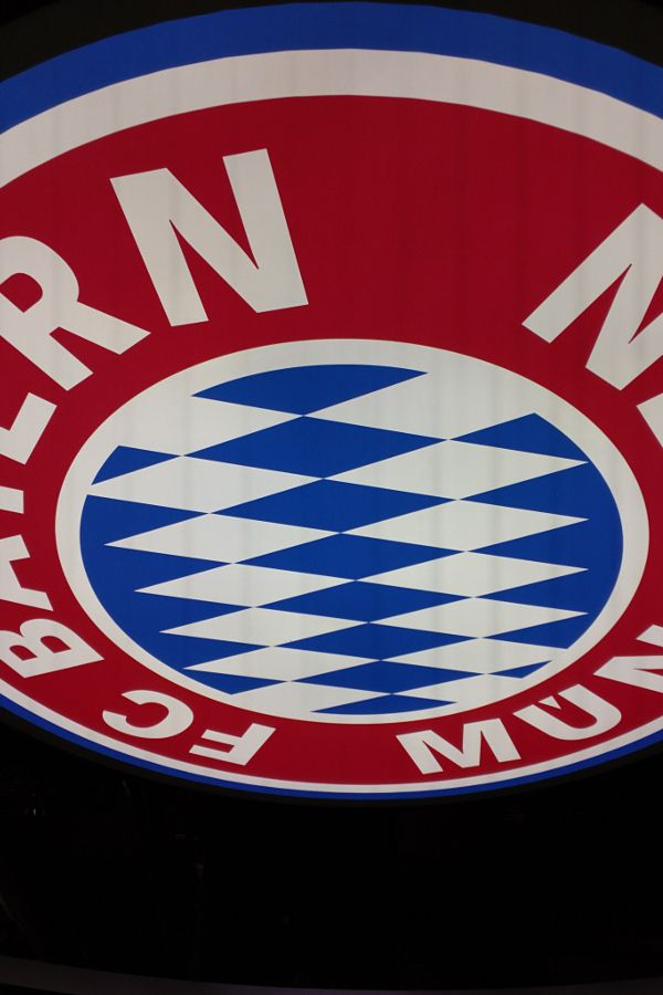 FC Bayern Munich logo on the ceiling of the FCB Erlebniswelt.