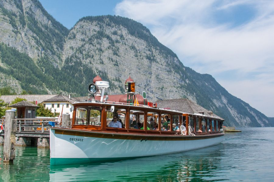 A ferry boat arriving at St. Bartholomew on the Königssee.