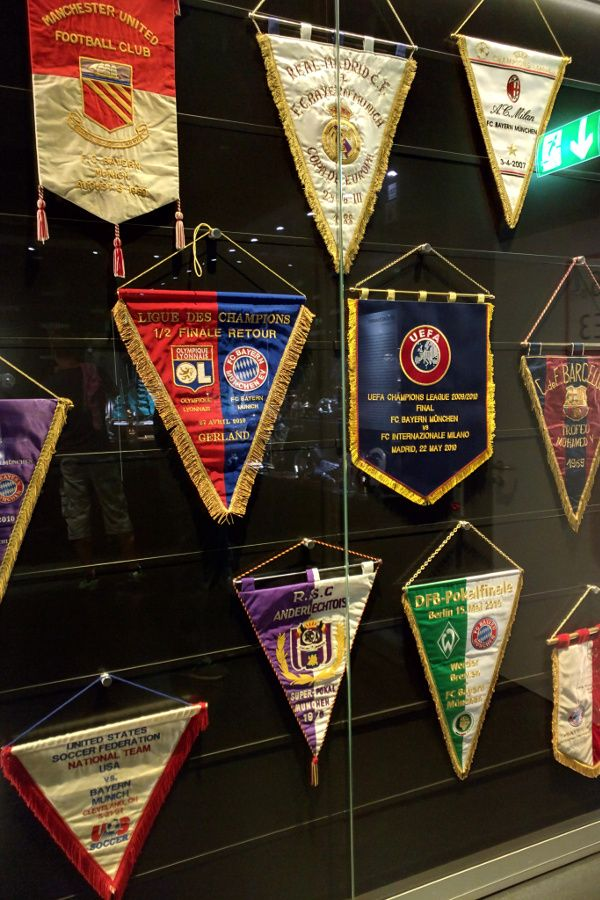 Flags at the FC Bayern Erlebniswelt.