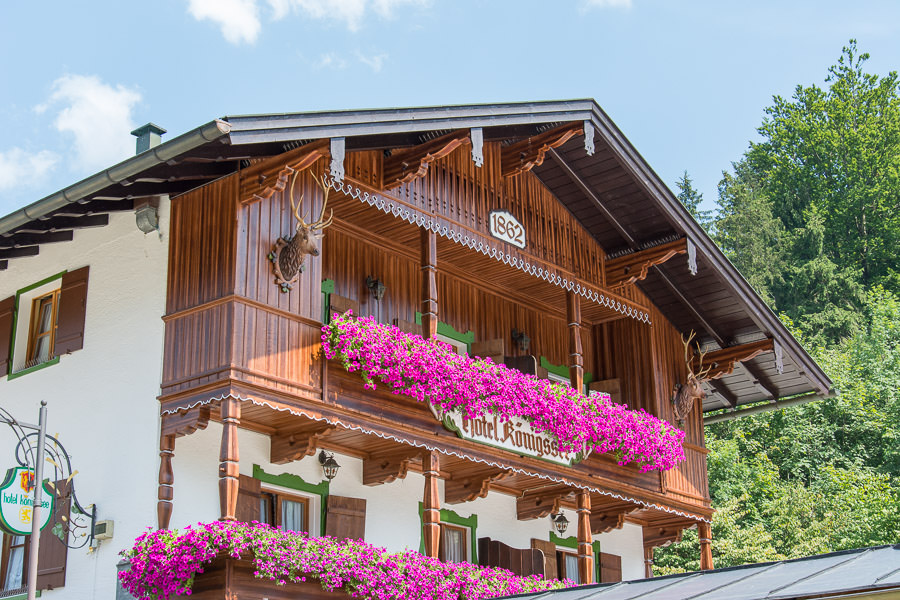 The Hotel Königssee sits at the northern tip of the lake in Schönau am Königssee.