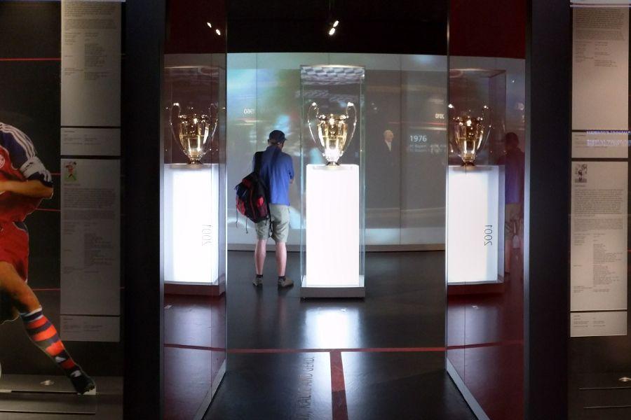 Inside the FC Bayern Erlebniswelt museum.