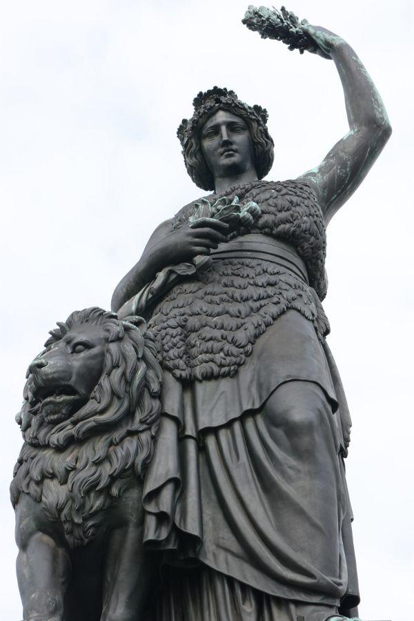 Munich's Bavaria statue close up.