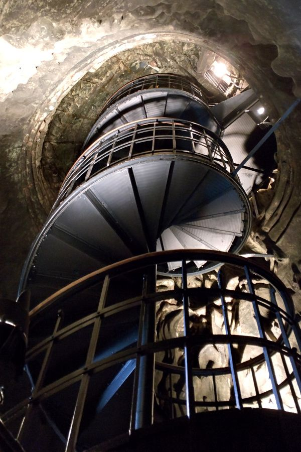 The spiral staircase inside of Munich's Bavaria statue.