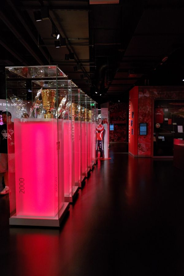 Trophies at the FC Bayern Erlebniswelt.