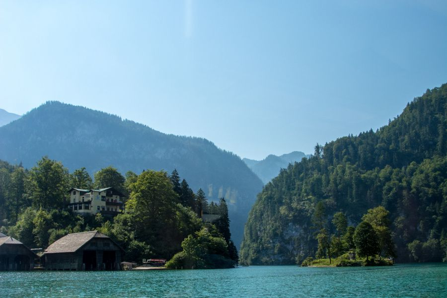 A view south from the top of the Königssee.
