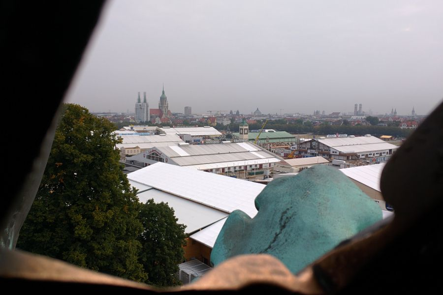The view of Munich, Oktoberfest and the Theresienwiese from inside the Bavaria statue.