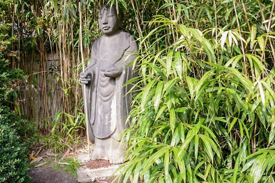 Buddha in the Japanese garden at Shofuso in Philadelphia.