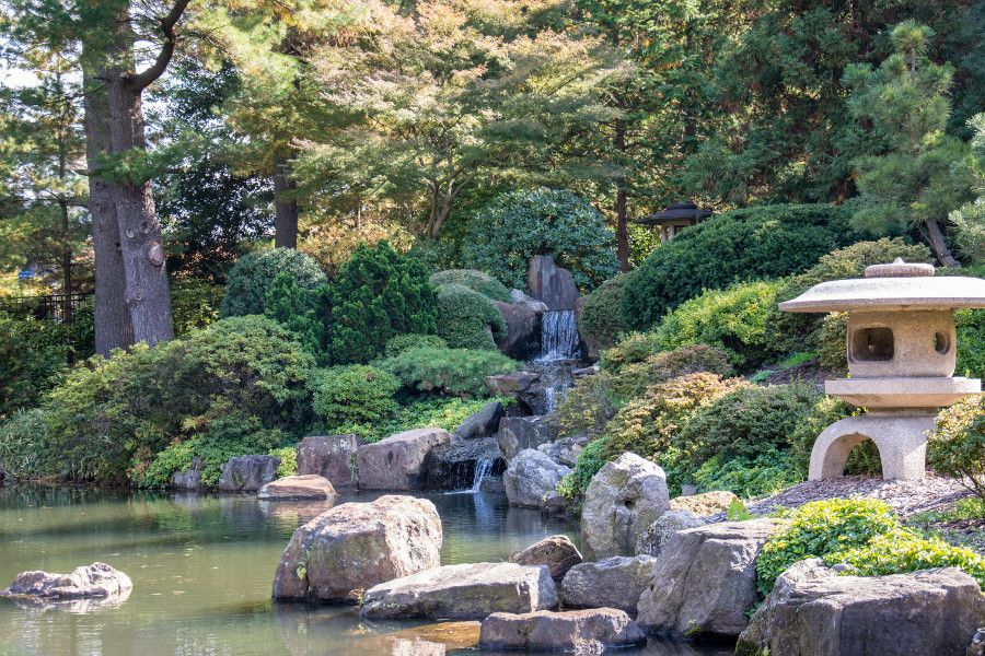 Waterfall in the Japanese garden at Shofuso in Philadelphia.