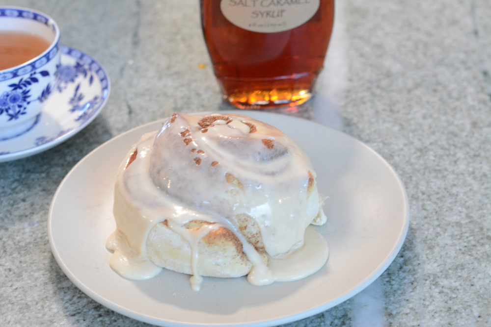 Cinnamon Bun with Salt Caramel Maple Frosting