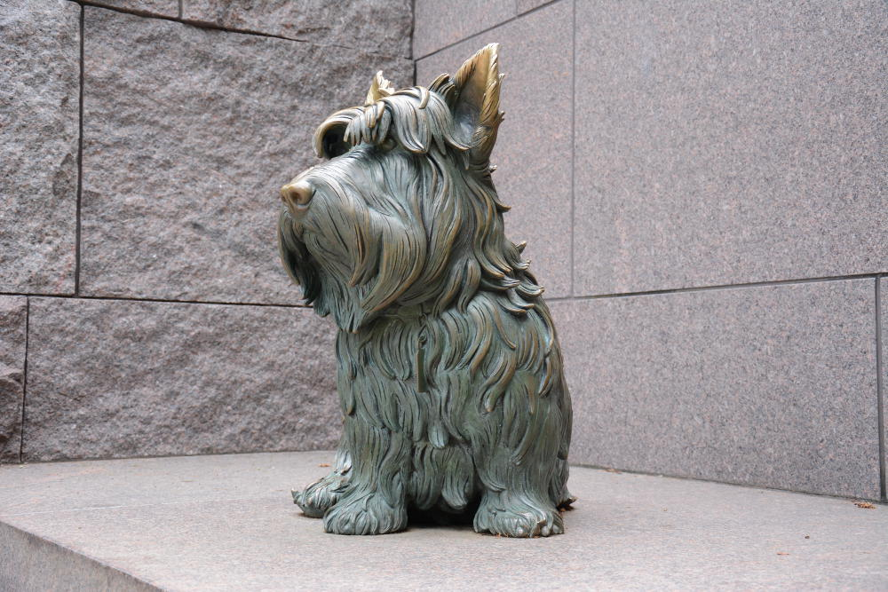 FDR Memorial has a fantastic dog statue. More on how to spend your day in Washington, D.C. on Reverberations.