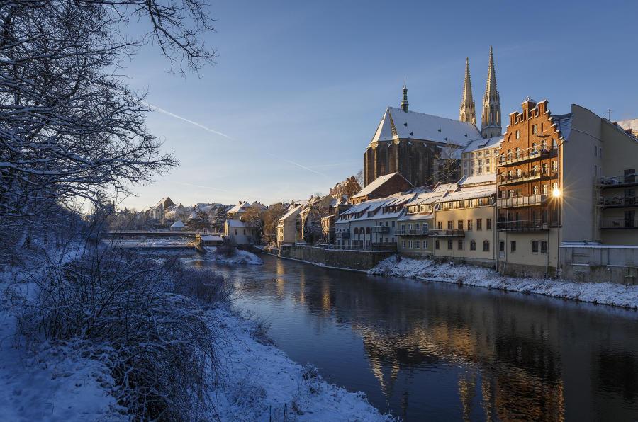 Görlitzer Altstadt mit Peterskirche im Winter /// Foto: Nikolai Schmidt Görlitz
