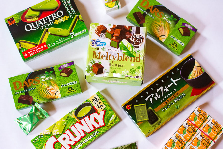 """There's more to Japanese candy than Pocky. Check out these five matcha green tea chocolate candies and some fun bubble gum!"