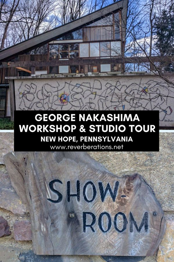 Woodworker George Nakashima is celebrated for his American craft furniture and his architecture. Visitors to New Hope, PA can tour George Nakashima Studio and Workshop. #nakashima #pennsylvania