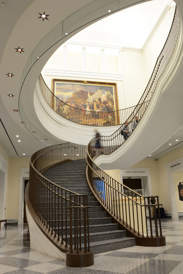 Impressive staircase. Philadelphia's brand new Museum of the American Revolution shares the real stories of the struggles and war that helped found the United States.