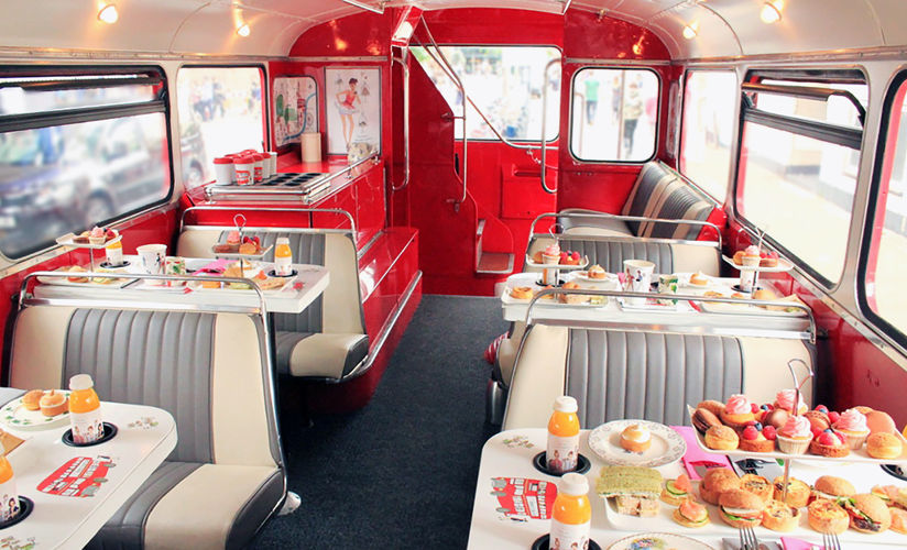 Beep beep! B Afternoon Tea offers tea on the go in a bus through London. More afternoon tea options at Reverberations.