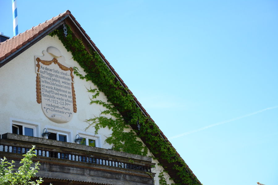 Paintings decorate a building in Aying, Germany.