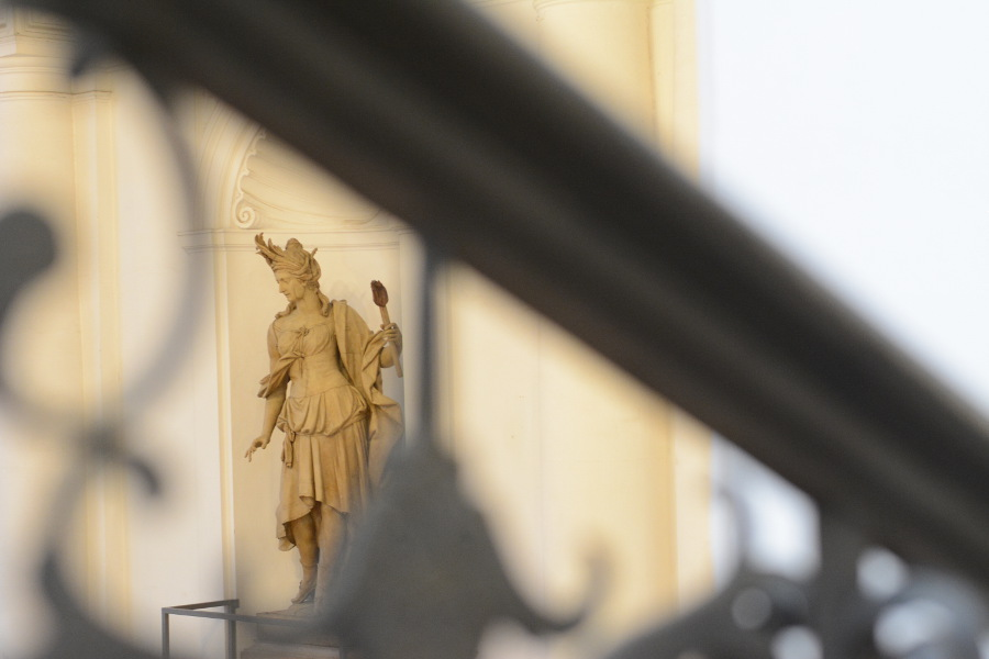 Statue through a railing at Bayerisches Nationalmuseum.