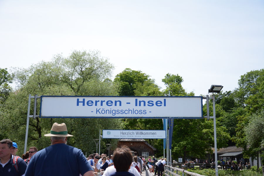 The Herrenchiemsee sign on the Chiemsee.