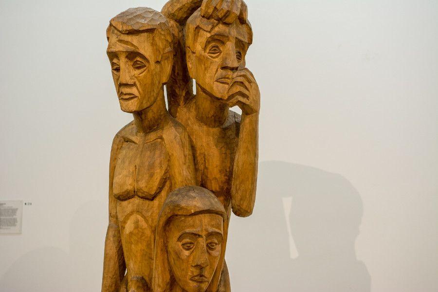 Modern wooden sculpture at Germanisches Nationalmuseum in Nuremberg, Germany.