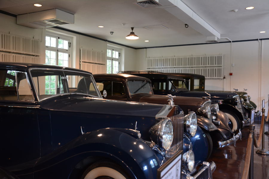 Vintage cars on display in Nemours' Chauffer's Garage.