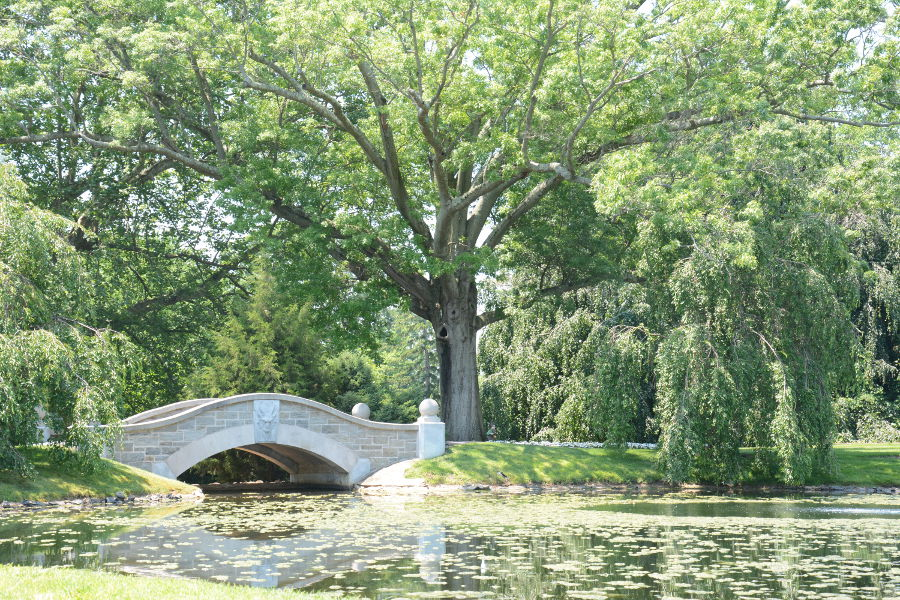 A bridge in the gardens at Nemours Mansion.