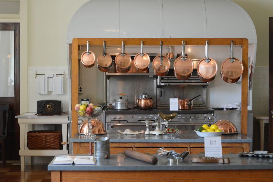 The kitchen at Nemours Mansion.