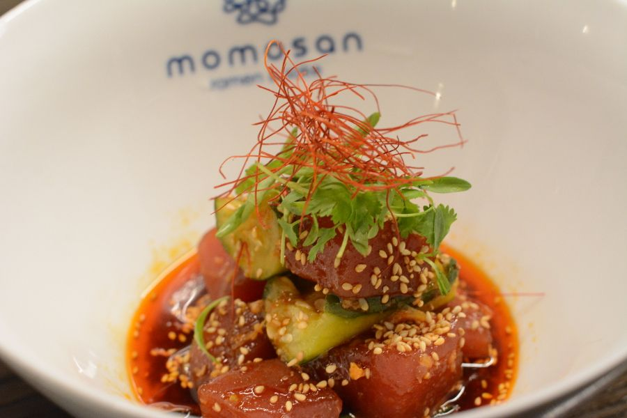 Closeup of zuke maguro from Momosan.
