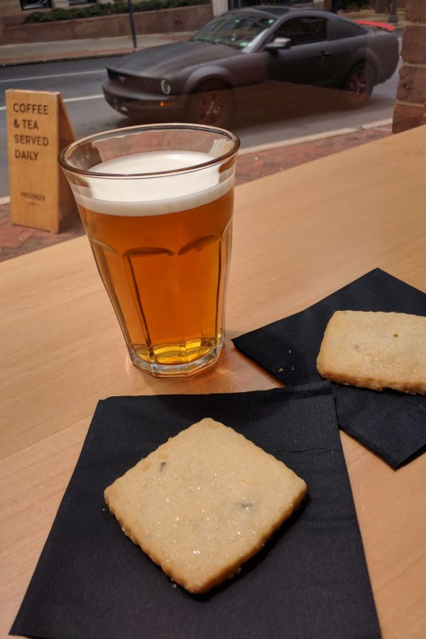 Nitrogen-infused Gaba Oolong and lavender shortbread from Passenger Coffee.