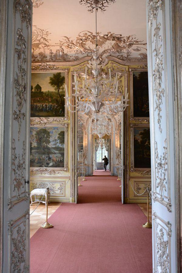 Interior in Amalienburg at Nymphenburg in Munich, Germany.