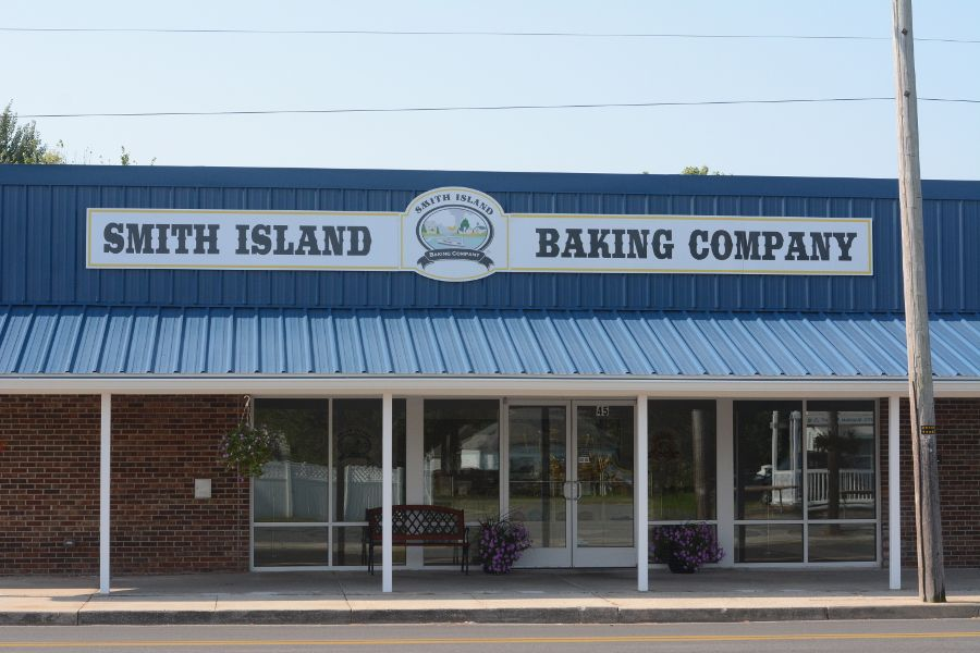 The Smith Island Baking Company storefront in Crisfield, Maryland.