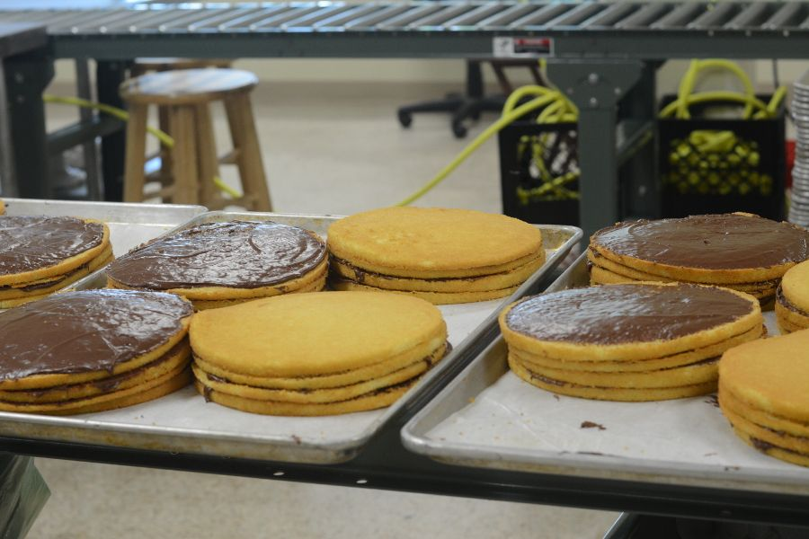Yellow cake sponge layers at the Smith Island Baking Company.