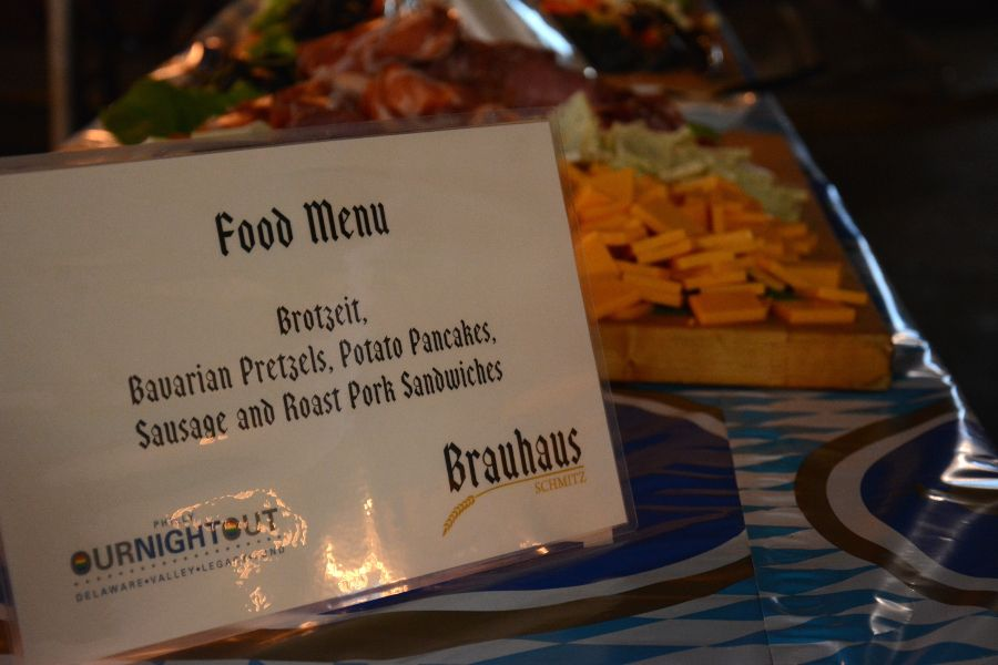 Food menu at Brauhaus Schmitz Oktoberfest at the 23rd Street Armory in Philadelphia.