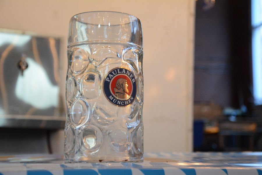 A Paulaner glass Krug.