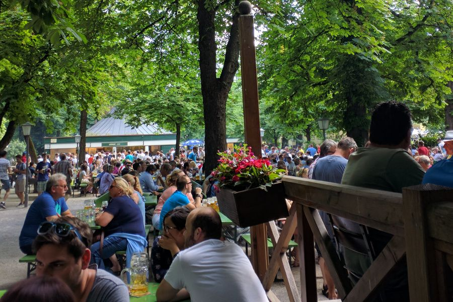 Chinesischer Turm on a busy day! My favorite Munich Biergarten and Wirtshaus for traditional Bavarian food.