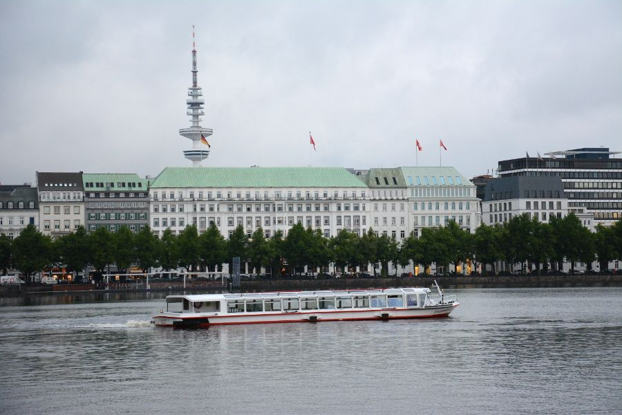 Alster waterfront in Hamburg, Germany.