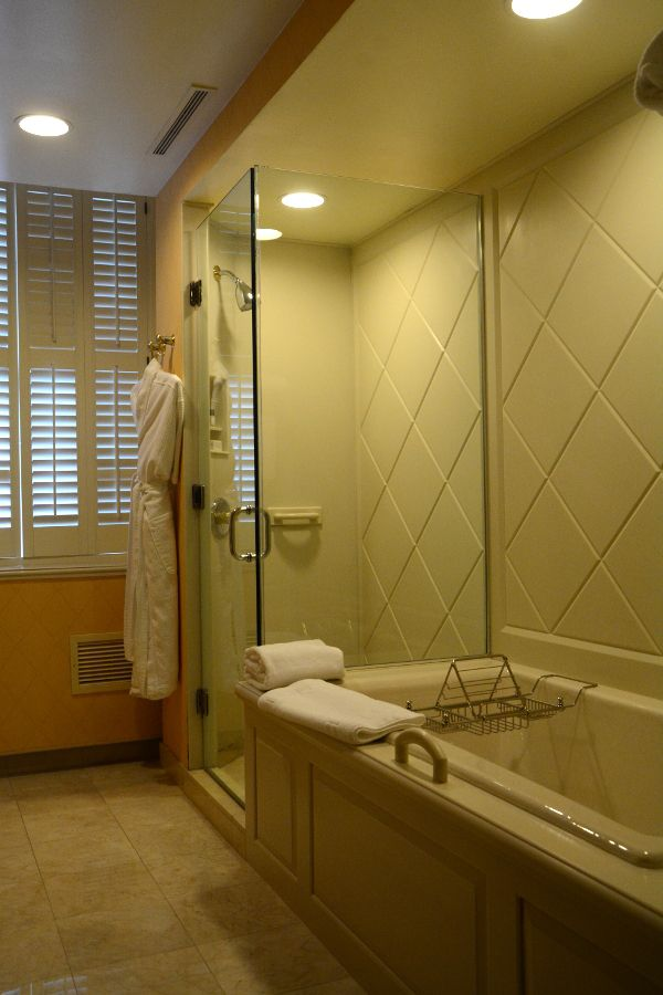 A separate bathtub and shower in a room at the Hotel Du Pont.