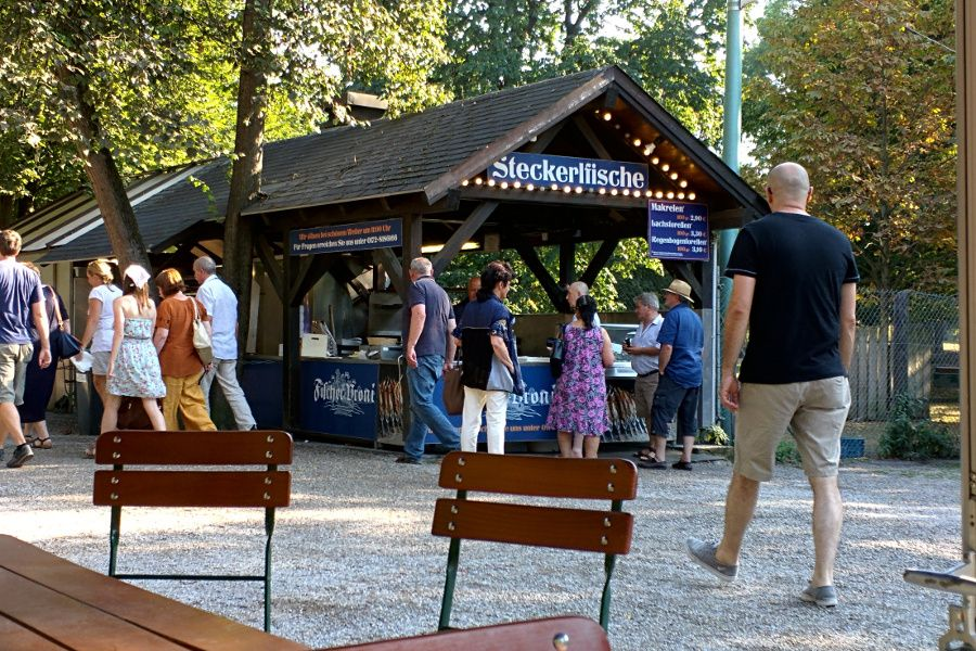 The Steckerlfisch stand at Munich Biergarten Hirschgarten in Munich, Germany.