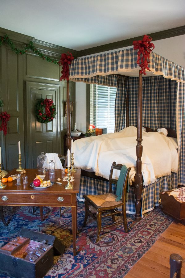 Christmas decorated bedroom in the Wilson-Warner House in Historic Odessa, Delaware.
