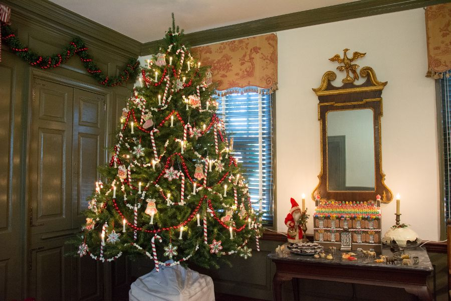 Christmas tree and gingerbread house in the Wilson-Warner House in Historic Odessa, Delaware.