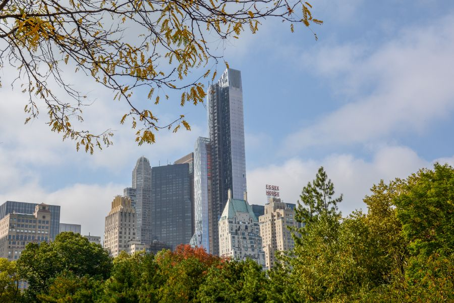 The view of the New York City skyline from Central Park.