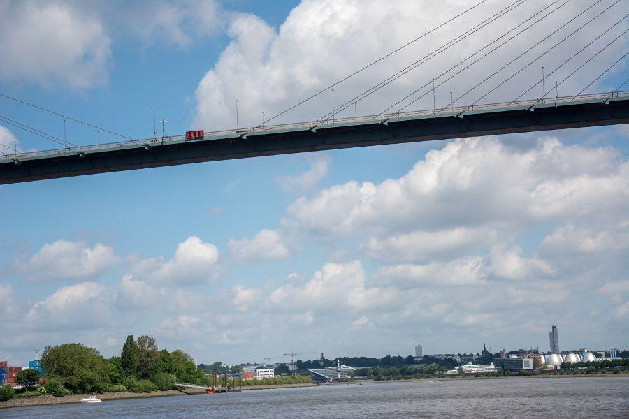 Bridge with height sign in Hamburg Harbor, Germany.