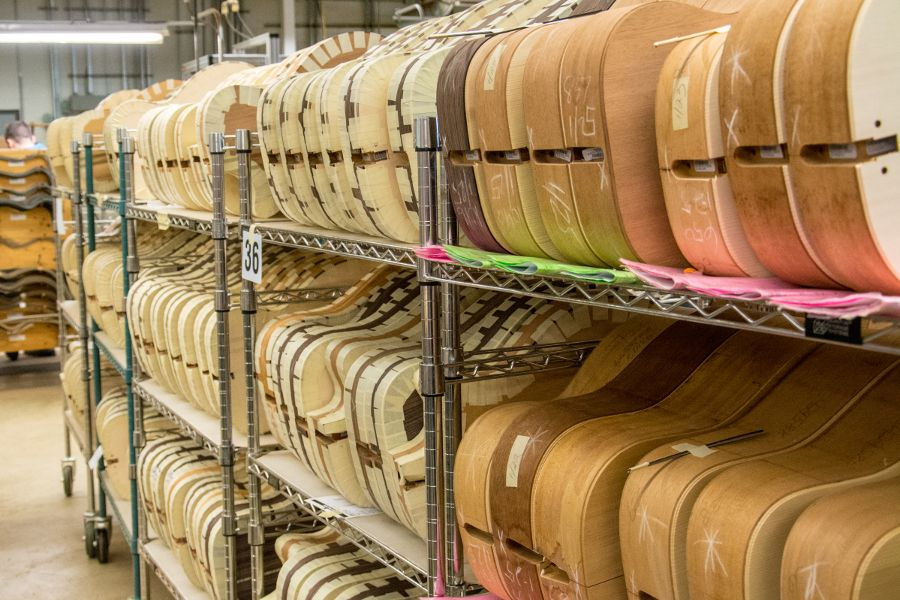 Guitar bodies at the Martin Guitar factory.